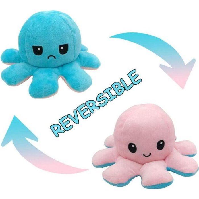 Poup e Mignonne Poulpe Double Face Flip Octopus en Peluche. poup e d'animaux en Peluche r versible Douce Poulpe (Light Blue+pink