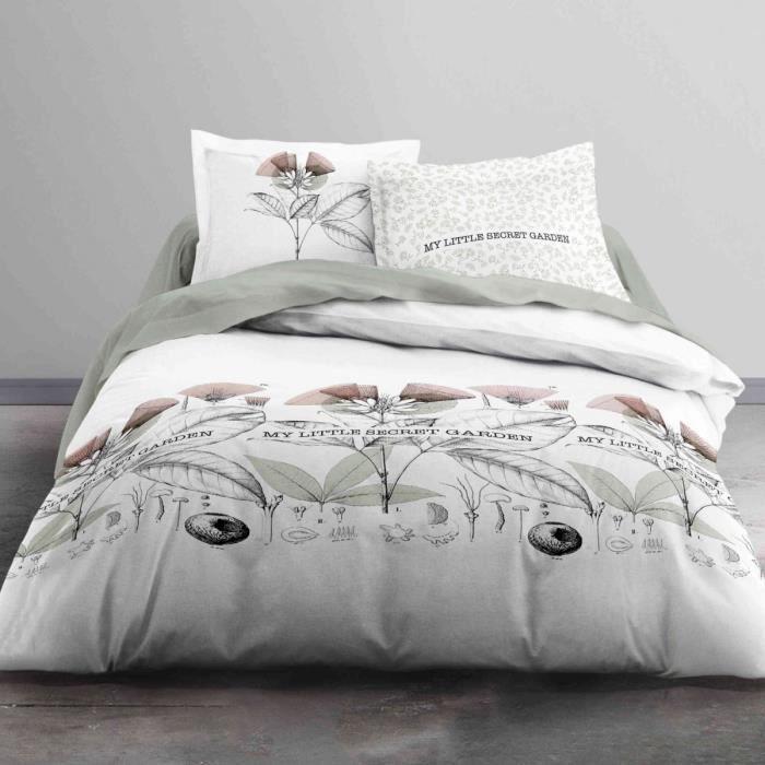 TODAY Parure de couette Enjoy SECRET GARDEN 100% coton - 220 x 240 cm - Gris et blanc