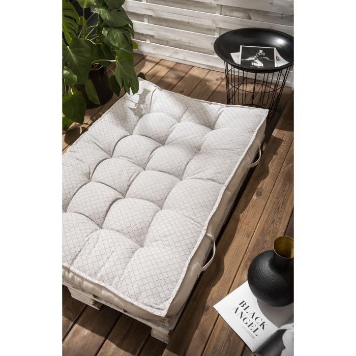 TODAY Matelas Palette Réversible - 100% Coton - Gris clair - 120x80x15 cm SPIRIT GARDEN
