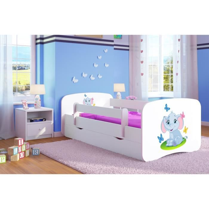 lit enfant avec barriere de securite et 1 grand tiroir elephant blanc achat vente ensemble. Black Bedroom Furniture Sets. Home Design Ideas