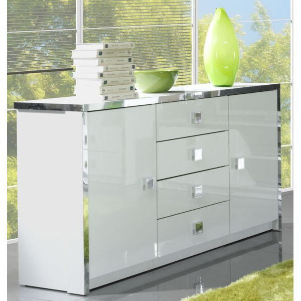 bahut 3 portes laqu blanc achat vente buffet bahut. Black Bedroom Furniture Sets. Home Design Ideas