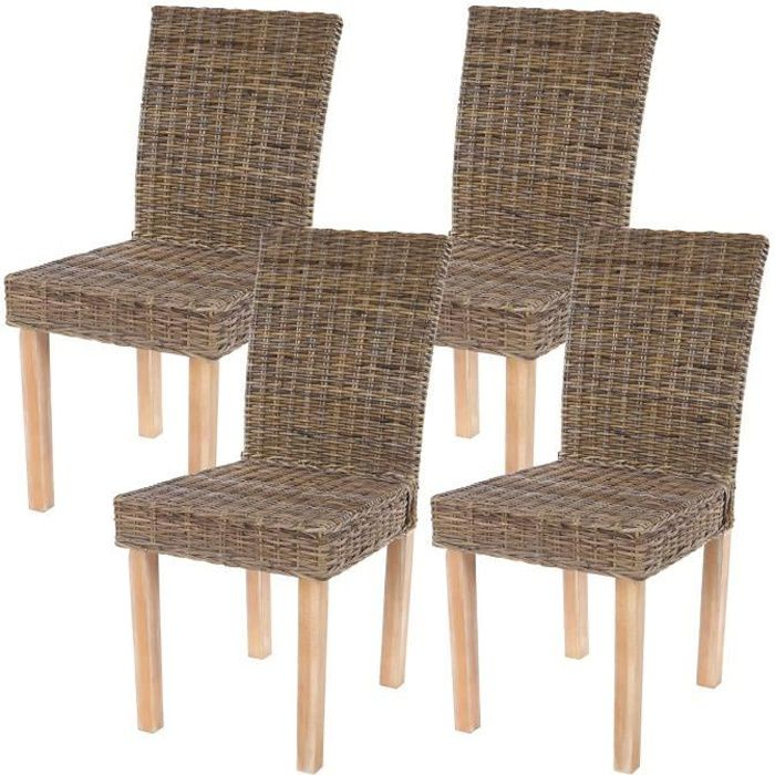 Lot de 4 chaises de s jour littau chaise en osier rotin for Chaise salle a manger en osier