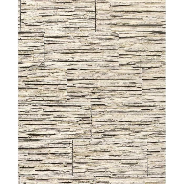 papier peint quartzite ardoise en relief 1003 33 vinyle tr s r sistant aspect pierre gris brun. Black Bedroom Furniture Sets. Home Design Ideas