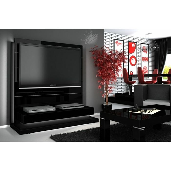 Interesting meuble tv ikea noir laque meubles tv design for Meuble chaine hifi ikea