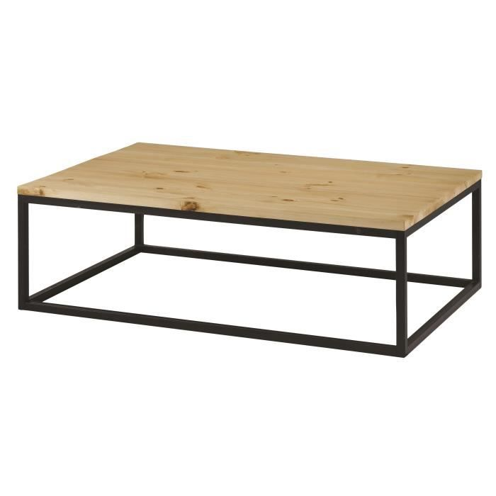 Table basse style contemporain en bois pin massif cir bross et m tal l 12 - Table basse en pin pas cher ...