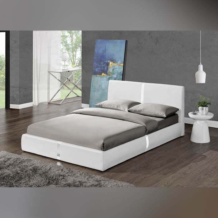 lit design ulysse blanc 140cm mod le moderne e achat. Black Bedroom Furniture Sets. Home Design Ideas