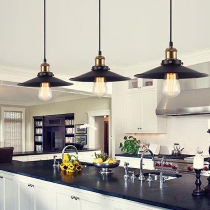 Suspension Luminaire Cuisine: IDEGU Lustre Suspension Industrielle 3 Luminaire Avez