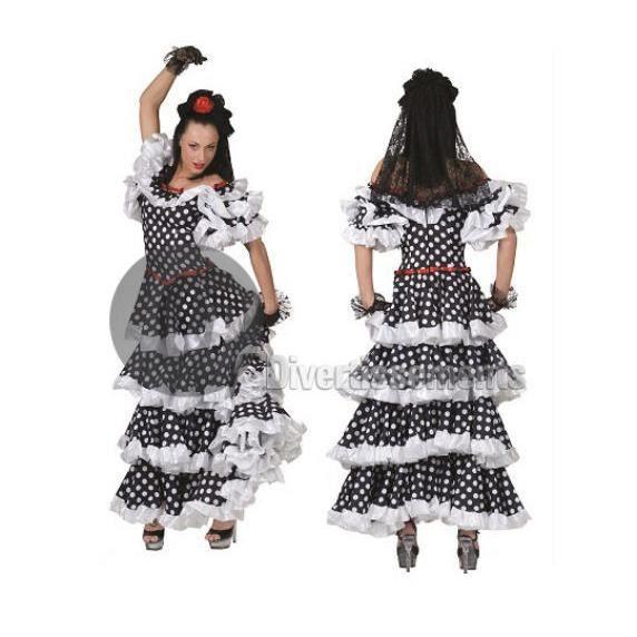 DÉGUISEMENT - PANOPLIE robe espagnole noir à pois blancs taille l