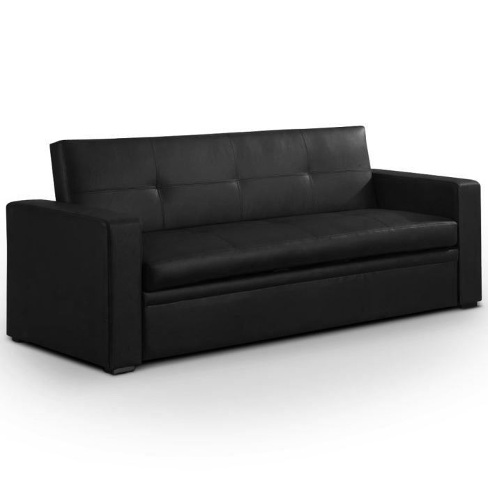 canap lit calypso noir achat vente canap sofa divan cdiscount. Black Bedroom Furniture Sets. Home Design Ideas