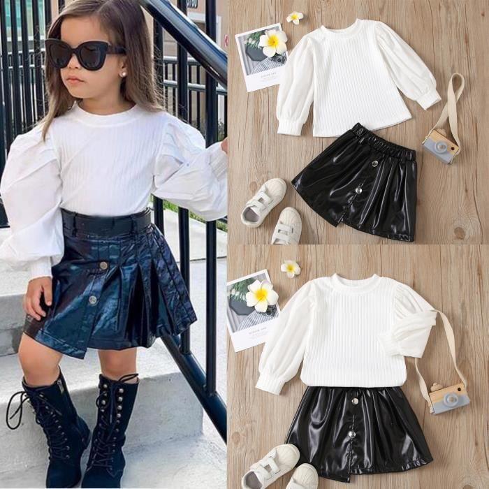 2Pcs//Set bébé enfants fille vêtements 1-5Y Imprimé Léopard Pull Tops Cuir Jupe