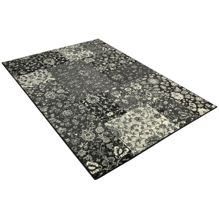 tapis salon patchwork fleur gris universol achat vente tapis cdiscount. Black Bedroom Furniture Sets. Home Design Ideas