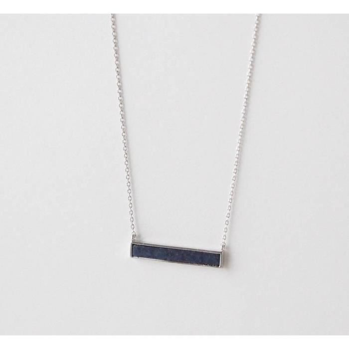 Womens Blue Lapis Lazuli Bar Necklace QYEM4