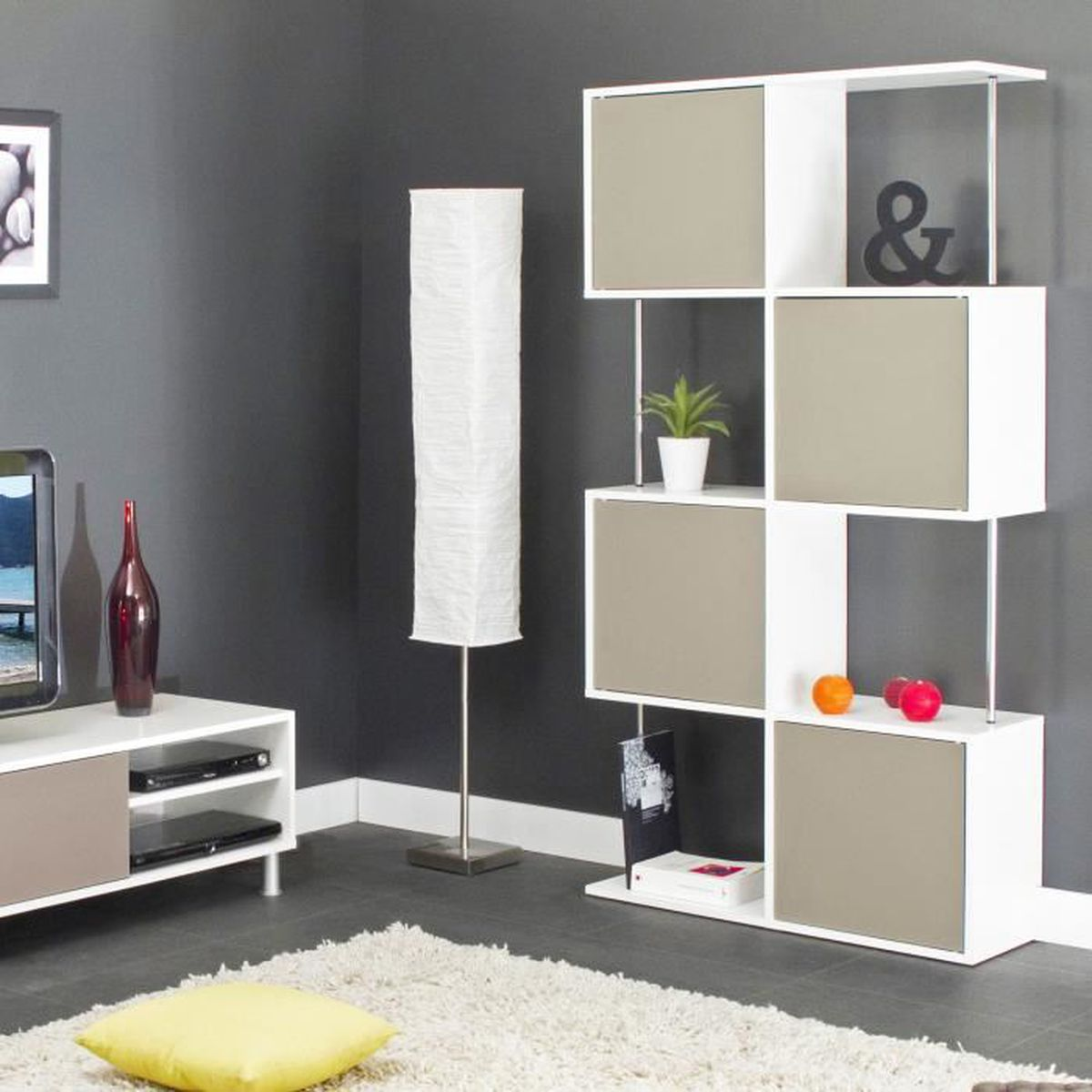 etag re semi ferm e blanc taupe achat vente etag re murale etag re semi ferm e blanc t. Black Bedroom Furniture Sets. Home Design Ideas