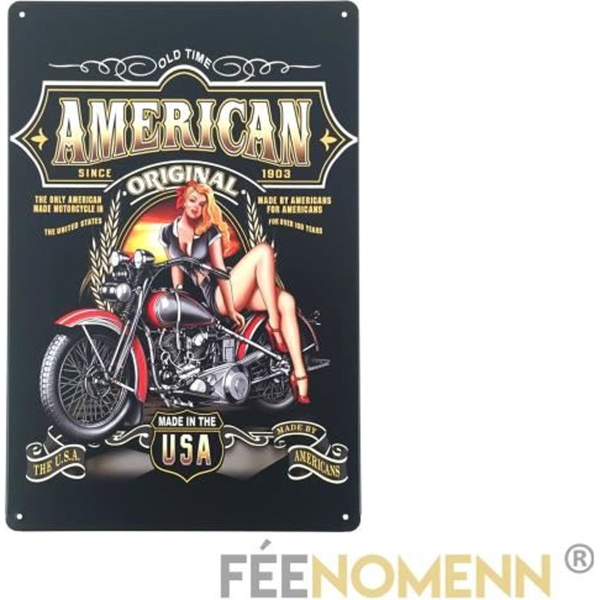 plaque deco en metal harley achat vente plaque deco en metal harley pas cher cdiscount. Black Bedroom Furniture Sets. Home Design Ideas