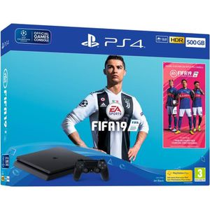 CONSOLE PS4 Pack PS4 500 Go Noire + FIFA 19