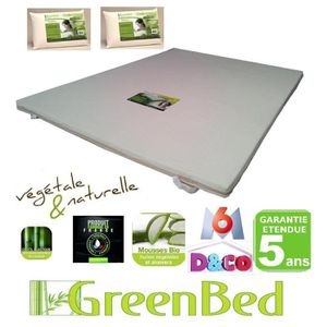 surmatelas m moire de forme 140x200 viscogreen achat. Black Bedroom Furniture Sets. Home Design Ideas