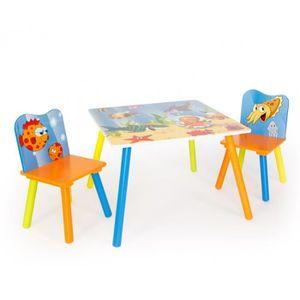 TABLE ET CHAISE Table avec 2 chaises pour enfant motif mer orange