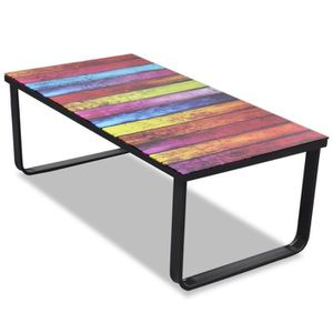 TABLE BASSE Table basse en verre Design arc-en-ciel