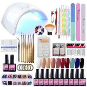 COFFRET DE MANUCURE Kit Manucure Nail Art Coffret Lampe UV/LED 36W Ver