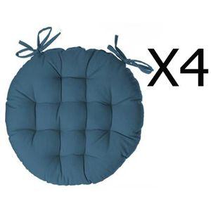 COUSSIN DE CHAISE  Lot de 4 galettes de chaise ronde en coton coloris