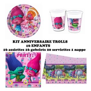 KIT DE DECORATION Kit anniversaire Trolls Complet 16 enfants (16 ass