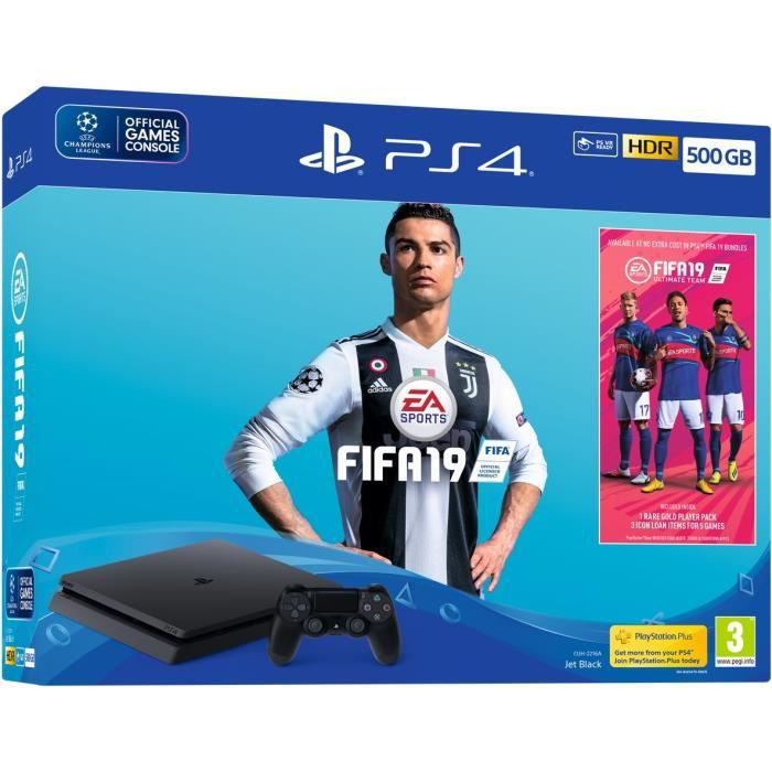 CONSOLE PS4 Pack PS4 500 Go Noire + FIFA 19