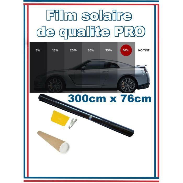 Qualite Professionnelle Film Teinté Pellicule Vitres Auto Noir 50% 76cm X 3m