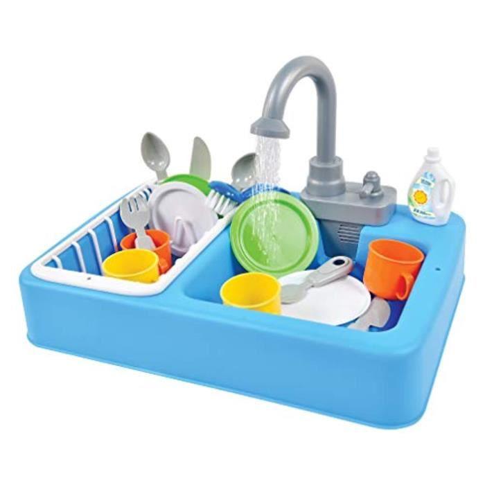Docteur RXAQK Ensemble de jeu d'évier de cuisine avec eau courante - Jouet de jeu de simulation de 2 pièces pour et jouets de lave-v