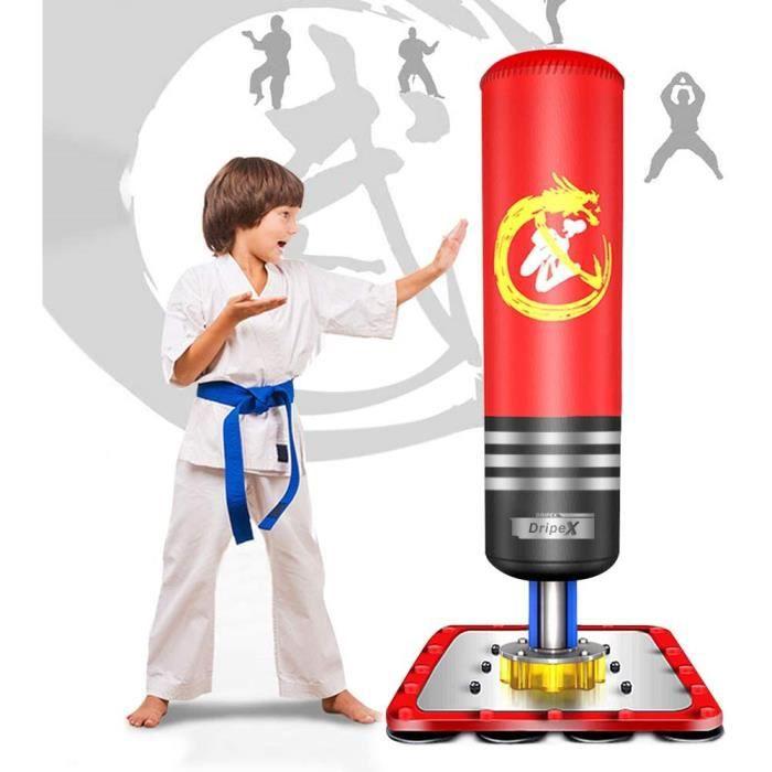Dripex Sac de Boxe sur Pied Enfant Sac de Frappe 120 cm Punching Ball - Rouge