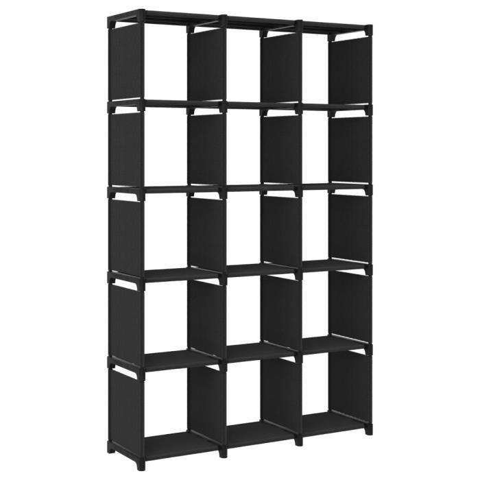 Étagère d'affichage 15 cubes Noir 103x30