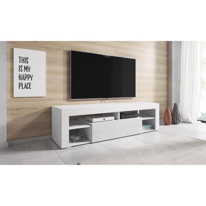TV Meuble HI-FI Armoire Titan 140 cm Corps Blanc Mat / Avant Blanc Brillant