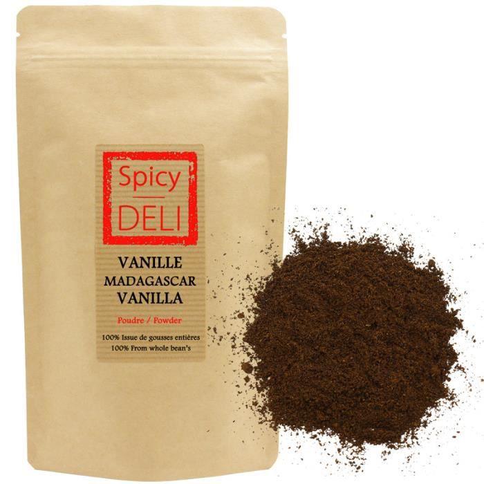 Poudre de Vanille de Madagascar 100% issue de gousses entières -sachet refermable 20gr-