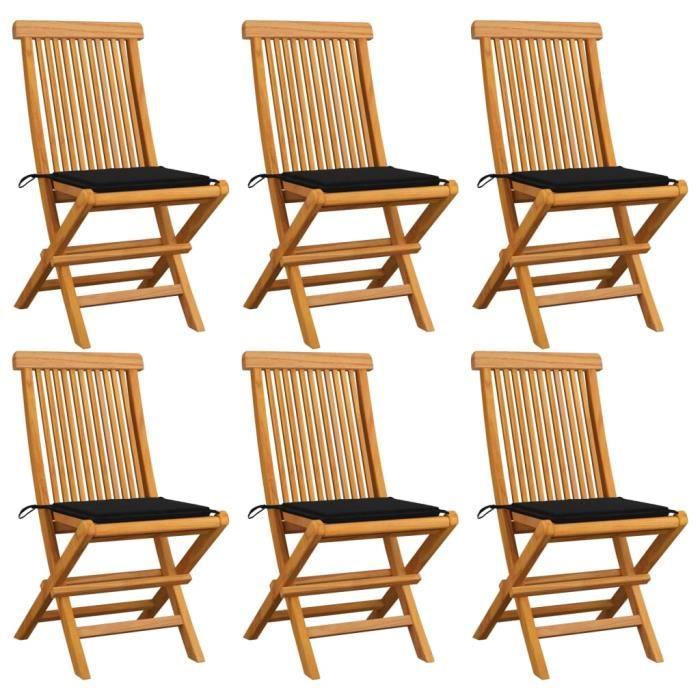 ♪♪2923 Lot de 6 Chaises de jardin Fauteuil de Jardin avec coussins - Chaise d'extérieur noir Bois de teck massif MEUBLE®