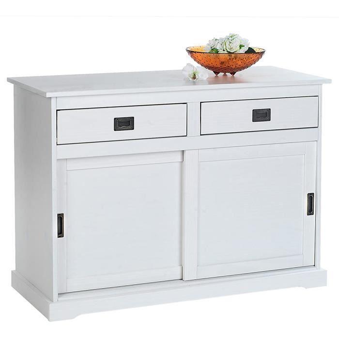 PETIT MEUBLE DE RANGEMENT IDIMEX Buffet Savona bahut vaisselier Commode avec 2 tiroirs et 2 Portes coulissantes en pin Massif la295