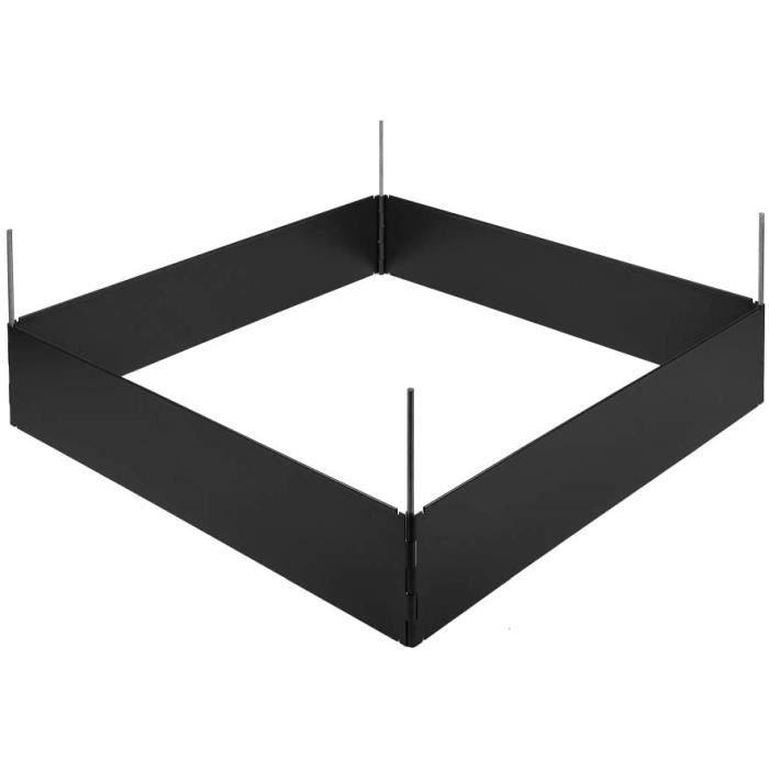 bordure jardin HORNVAL Bordure de Parterre pour Culture de Plantes en t&ocircle d'acier rev&ecirctue de Forme carr&eacutee - 440