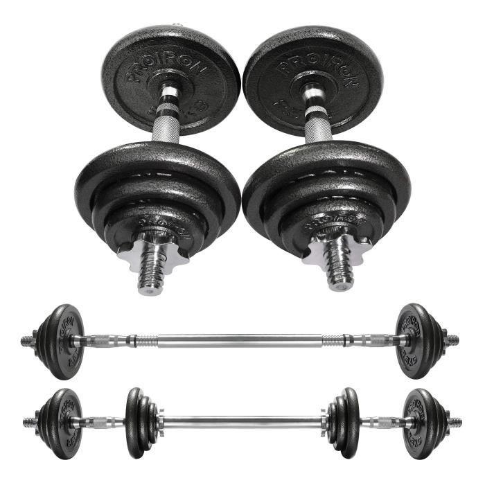 PROIRON Haltères - Ensemble d'haltères musculation réglable en fonte de 20 kg avec barre d'extension pour Entraînement musculaire