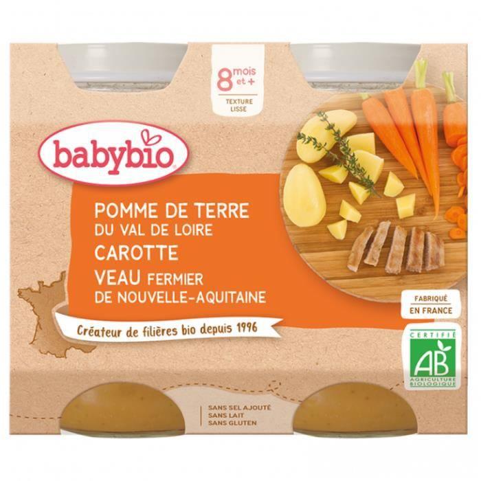 Petit pot bébé pomme de terre-carotte-veau x2 200gr - Babybio