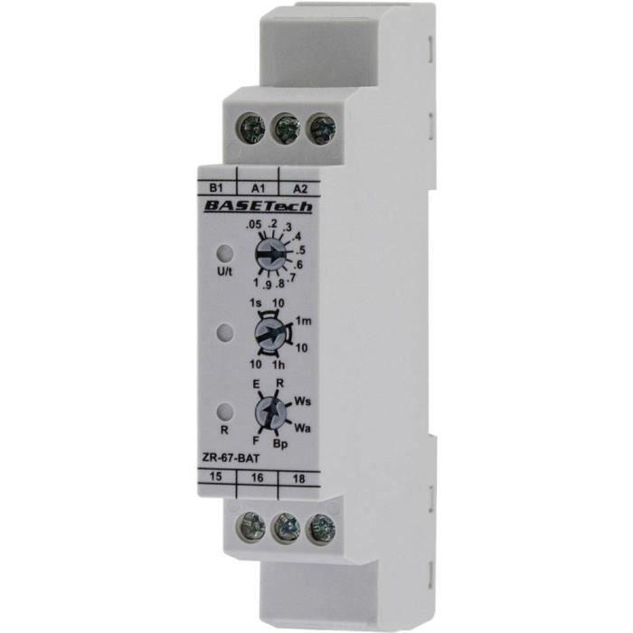 Relais temporisé multifonction Basetech ZR-67-BAT Plage temporelle: 0.05 s - 10 h 1 inverseur (RT) 1 pc(s)