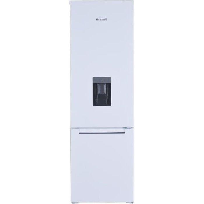 BRANDT BSC7507WD - Réfrigérateur combiné 260L (195L + 65L) - Froid statique - Distributeur d'eau - L 55 cm x H 176 cm - Blanc