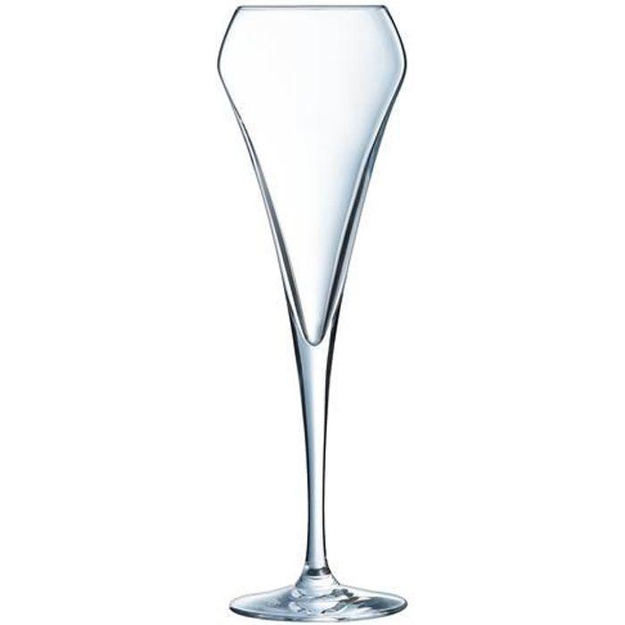6 flûtes à champagne 20cl Open Up - Chef&Sommelier - Cristallin design original 30% plus résistant