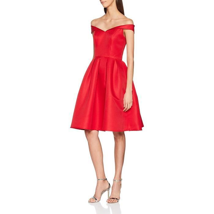 Chi Chi London Fold-Over Bardot Midi Robe, Rouge, 36 Femme - 7381RE-Red