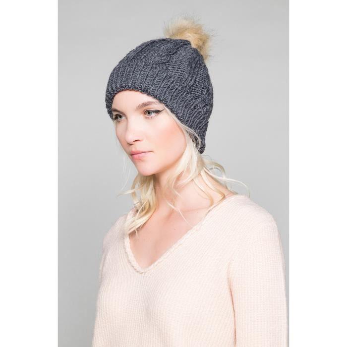 Bonnet à pompon PRALOUP - Couleur - Dark Grey, Taille - TU