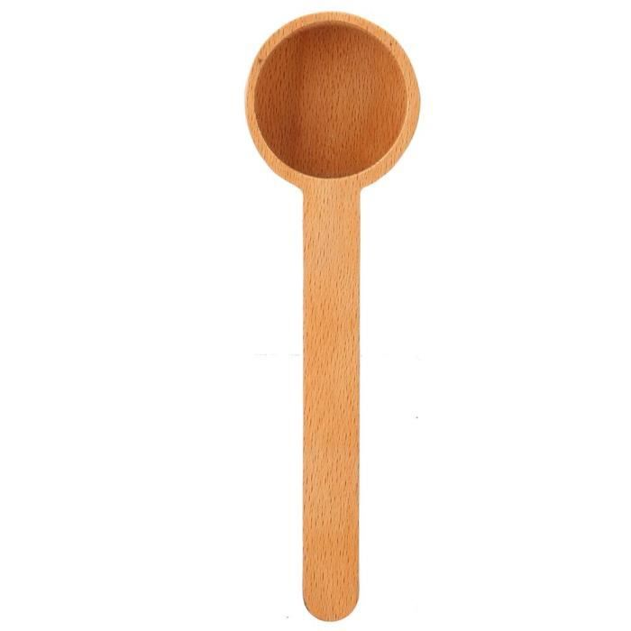 Drfeify Pelle à poudre Cuillère à mesurer en grains de café en bois cuillère à café lait en poudre sel sucre cuillère pour