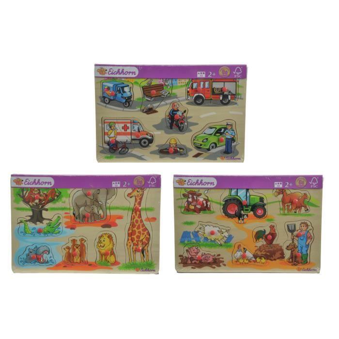 Eichhorn Eh - Puzzle Avec Figures (3 pcs, 30 x 20 cm), Puzzle à formes, Dessins animés, 2 année(s), Garçon-Fille, 300 mm, 10 mm