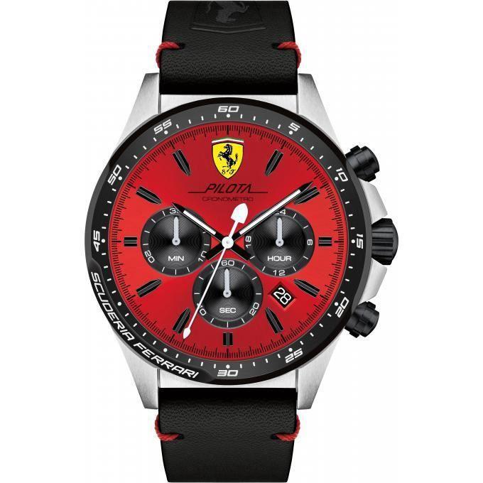 montre ferrari montres 0830387 - montre chronographe noir cuir homme