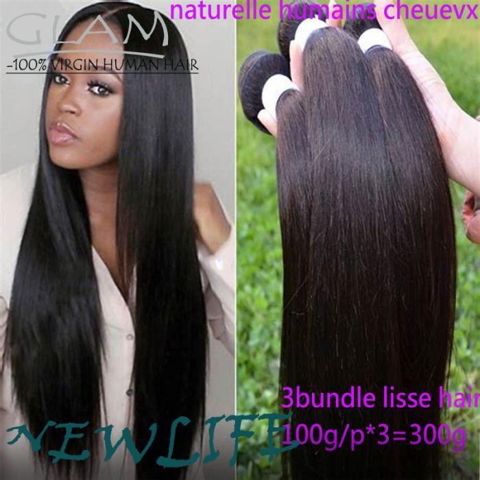 3 Piece tissage Bresilien naturel lisse cheveux humains 8+10+12Pouces,100g-piece
