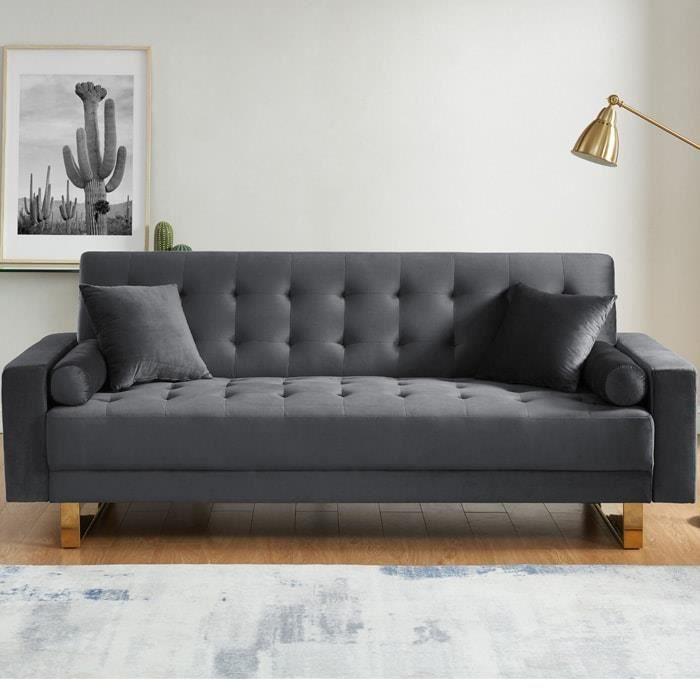 Canapé 3 places convertible en velours gris anthracite piètement en métal doré - Collection Chic Gris