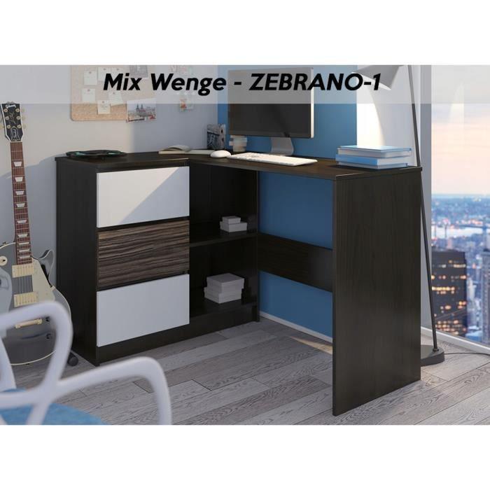 KIAN W - Bureau d'angle avec rangements + 3 tiroirs - 112x87x76 - Table d'ordinateur forme de L - Wengé-Blanc-Zebrano