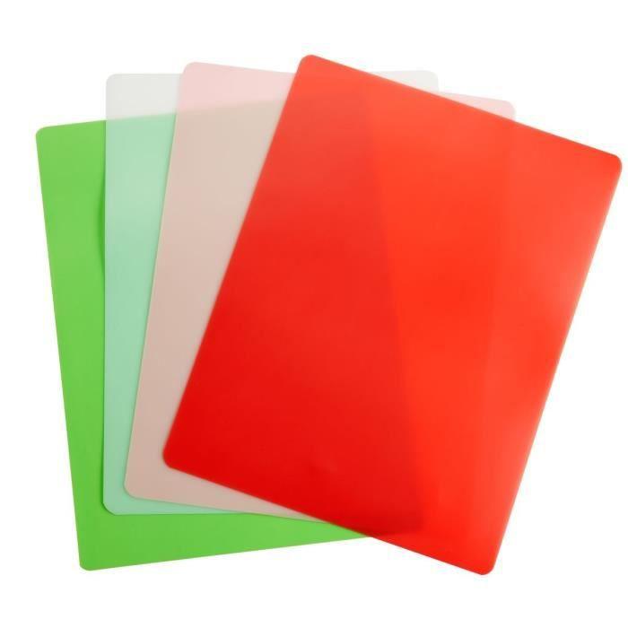 TEFAL FRESH KITCHEN Set de 4 planches à découper flexibles GM K2083514 42x30x0,3cm vert, orange, rose et blanc