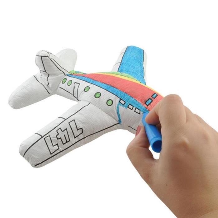 Peluche à colorier avec 4 feutres lavables Avion